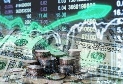 stock exchange with money